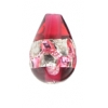 Glass Lamp Bead Drop 12x8mm Silver/Ruby